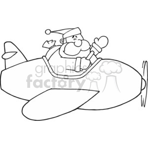 Black and White Santa in airplane clipart. Commercial use image # 377800