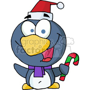 a Penguin in a santa hat and purple scraf with a candy can in hand clipart. Royalty-free image # 377802