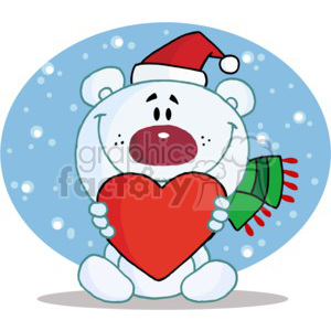 A white bear in a santa hat and scarf hold a red heart