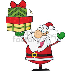 Santa and presents clipart. Commercial use image # 377847