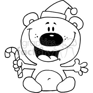 a black and white bear wearing a santa hat  clipart. Commercial use image # 377849