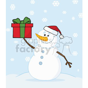 snowman in a santa hat on a snowy day holding a present