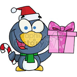 a penguin bearing gifts for the holidays clipart. Royalty-free image # 377853