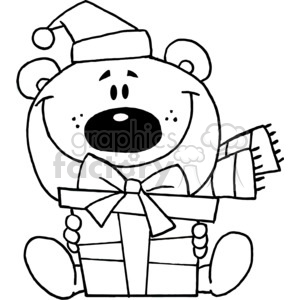 Christmas Bear in black and white clipart. Commercial use image # 377855