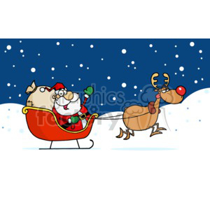 santa and rudolph taking off to deliver presents clipart. Commercial use image # 377857