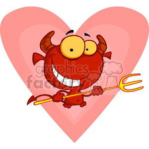 little grinning devil with pitchfork for Valentines clipart. Royalty-free image # 377976