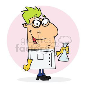 A Green Haired Mad Sciencist holding a clear beaker