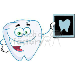 Happy white tooth holding up an x ray of a healthy tooth clipart. Royalty-free image # 377991