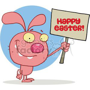 Silly Rabbit Holds Sign With Happy Easter On It clipart. Royalty-free image # 378006