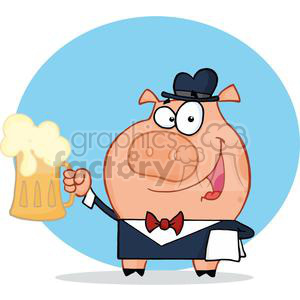 A Waiter Pig with Pint of Foaming Beer clipart. Royalty-free image # 378011