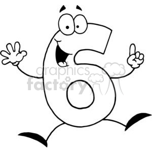 Happy Number 6 Holds Up Five Fingers and A Thumb  animation. Royalty-free animation # 378016