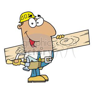 carpenter holding a board and a hammer