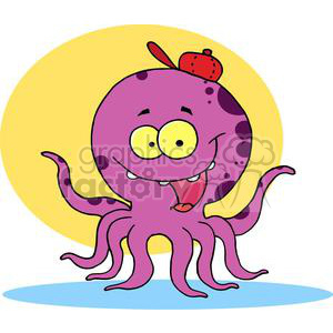 purple and black spotted Octopus wearing a Red Ball Cap in front of a Yellow Background  clipart. Commercial use image # 378051