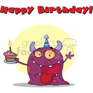 A Purple Monster On His First Birthday with Text Happy Birthday! clipart. Commercial use image # 378056