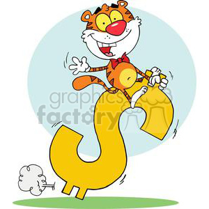 Cartoon Tiger Rides a  Dollar Sign clipart. Royalty-free image # 378061