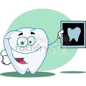 Cartoon Tooth with X-ray Picture of a tooth clipart. Royalty-free image # 378071