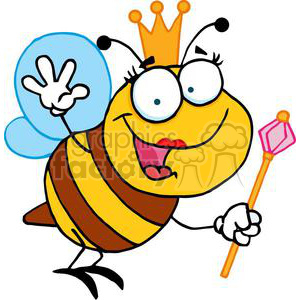 Brown and yellow queen bee wearing a crown holding a wand and waving