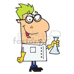 cartoon scientists with green hair and glasses clipart. Royalty-free image # 378101
