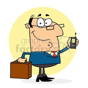 a business man in a blue suite with cell phone and briefcase clipart. Royalty-free image # 378116