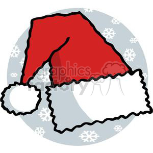 Santa Hat in White and Red with White Snow flakes in Background clipart. Commercial use image # 378126