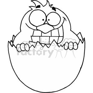 Happy Little Chick in Black and White clipart. Commercial use image # 378141