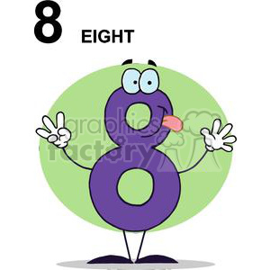 Happy Number 8 Holding Up Eight Fingers