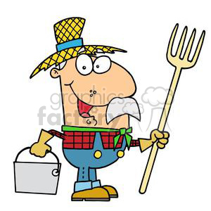 cartoon farmer guy in a yellow straw hat clipart. Commercial use image # 378191