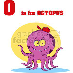 Purple and Black Spotted Octpus with yellow eyes clipart. Commercial use image # 378196