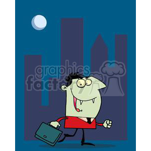 Green Vampire Walking At Night With Briefcase a clipart. Royalty-free image # 378206