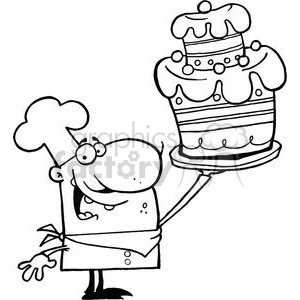 Proud Chef Holds Up Decorated Cake clipart. Commercial use image # 378221