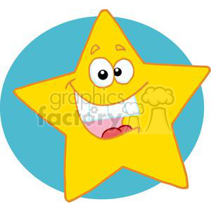 Happy Yellow Star Smiling In Front Of A Blue Circle clipart. Royalty-free image # 378261