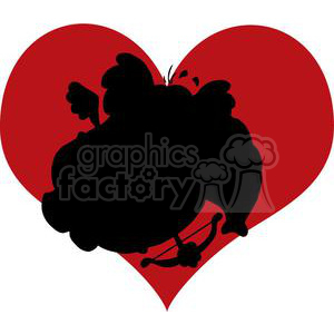 Cartoon Silhouette Elephant as Cupid in Heart