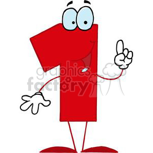 Happy Red Number 1 clipart. Royalty-free image # 378281