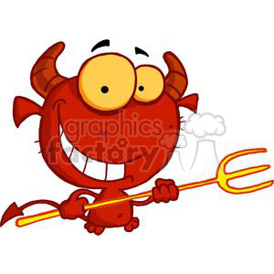 happy little red devil with pitchfork and smile clipart. Royalty-free image # 378301