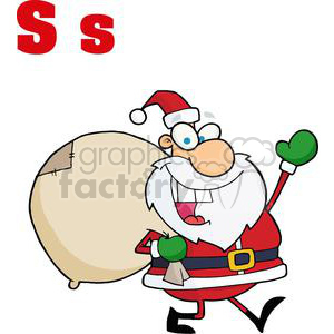 Alphabet Letter S as in Santa Clause clipart. Commercial use image # 378311