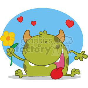 Monster with flower in front of a blue background with hearts clipart. Royalty-free image # 378321