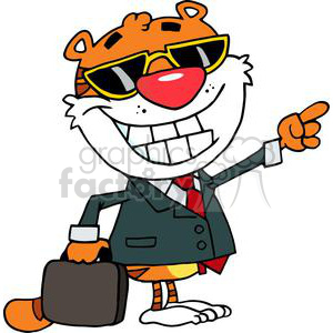 A Business Tiger Pointing Towards Success  clipart. Royalty-free image # 378326