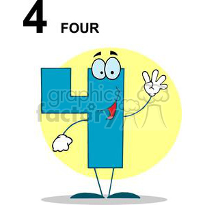 Happy Number 4 in blue with a yellow background clipart. Royalty-free image # 378346