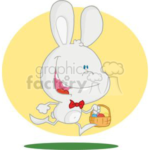 Running Easter Rabbit With Eggs In a-Basket clipart. Royalty-free image # 378356