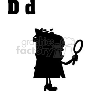 Cartoon Alphabet D as in Detective Silhouette clipart. Royalty-free image # 378371