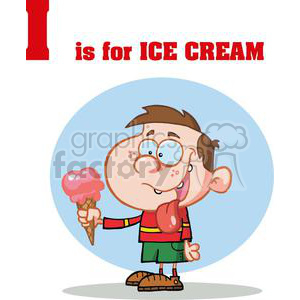 A little Boy Licking His Ice Cream clipart. Royalty-free image # 378381