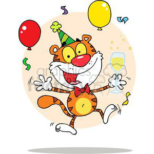 A tiger having fun at party clipart. Royalty-free image # 378386