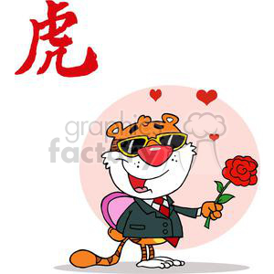 Romantic Tiger with Red Rose and Gift clipart. Royalty-free image # 378391