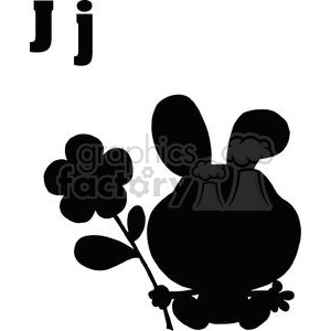 Silhouette of a Jackrabbit holding a Flower clipart. Commercial use image # 378401