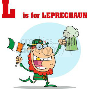 Leprechaun running with a pint of Ale and Irish Flag clipart. Royalty-free image # 378411