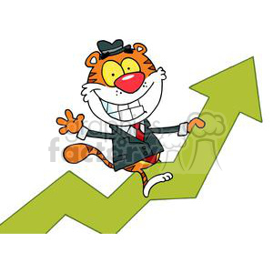 Happy Tiger Riding On A Green Arrow Of Success clipart. Royalty-free image # 378416