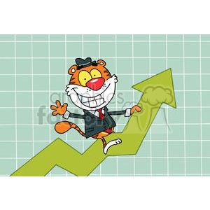 Happy Tiger Riding On Success in a Flow Chart clipart. Royalty-free image # 378421