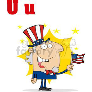 Uncle Sam dressed in a patriotic Costume clipart. Royalty-free image # 378456