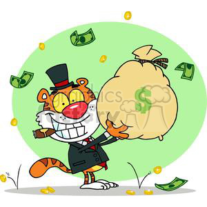 Cartoon Happy Tiger Rolling in the Money clipart. Royalty-free image # 378461