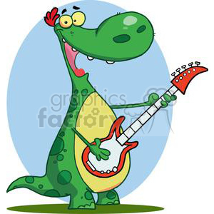 Dinosaur Plays Guitar Merrily clipart. Commercial use image # 378466
